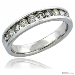 10k White Gold 10-Stone Men's Diamond Ring Band w/ 0.74 Carat Brilliant Cut Diamonds, 3/16 in. (5mm) wide