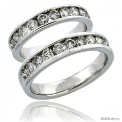 10k White Gold 2-Piece His (5mm) & Hers (4.5mm) Diamond Wedding Ring Band Set w/ 1.48 Carat Brilliant Cut Diamonds