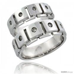 10k White Gold 2-Piece His (8mm) & Hers (7mm) Diamond Wedding Ring Band Set w/ 0.37 Carat Brilliant Cut Diamonds
