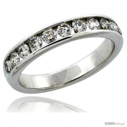 10k White Gold 11-Stone Ladies' Diamond Ring Band w/ 0.81 Carat Brilliant Cut Diamonds, 5/32 in. (4mm) wide