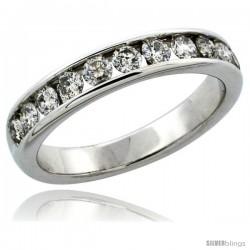 10k White Gold 11-Stone Ladies' Diamond Ring Band w/ 0.81 Carat Brilliant Cut Diamonds, 5/32 in. (4mm) wide
