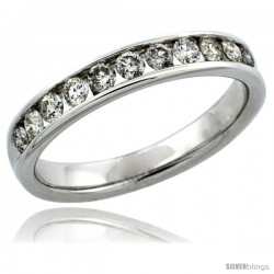 10k White Gold 11-Stone Men's Diamond Ring Band w/ 0.81 Carat Brilliant Cut Diamonds, 5/32 in. (4mm) wide