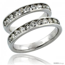 10k White Gold 2-Piece His (4mm) & Hers (4mm) Diamond Wedding Ring Band Set w/ 1.62 Carat Brilliant Cut Diamonds