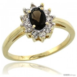 10k Yellow Gold Smoky Topaz Diamond Halo Ring Oval Shape 1.2 Carat 6X4 mm, 1/2 in wide
