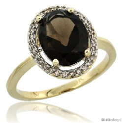 10k Yellow Gold Diamond Halo Smoky Topaz Ring 2.4 carat Oval shape 10X8 mm, 1/2 in (12.5mm) wide