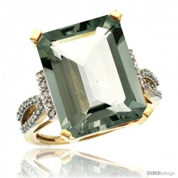 10k Yellow Gold Diamond Green-Amethyst Ring 12 ct Emerald Shape 16x12 Stone 3/4 in wide