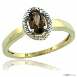 10k Yellow Gold Diamond Halo Smoky Topaz Ring 0.75 Carat Oval Shape 6X4 mm, 3/8 in (9mm) wide