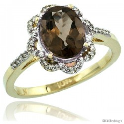 10k Yellow Gold Diamond Halo Smoky Topaz Ring 1.65 Carat Oval Shape 9X7 mm, 7/16 in (11mm) wide