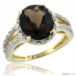 10k Yellow Gold Diamond Halo Smoky Topaz Ring 2.85 Carat Oval Shape 11X9 mm, 7/16 in (11mm) wide