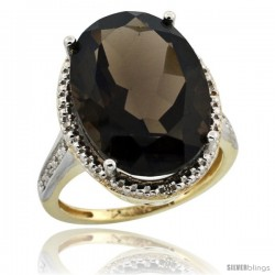 10k Yellow Gold Diamond Smoky Topaz Ring 13.56 Carat Oval Shape 18x13 mm, 3/4 in (20mm) wide