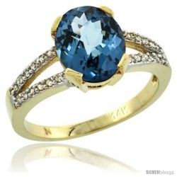 14k Yellow Gold and Diamond Halo London Blue Topaz Ring 2.4 carat Oval shape 10X8 mm, 3/8 in (10mm) wide