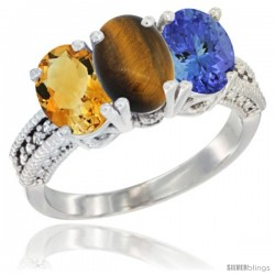 14K White Gold Natural Citrine, Tiger Eye & Tanzanite Ring 3-Stone 7x5 mm Oval Diamond Accent
