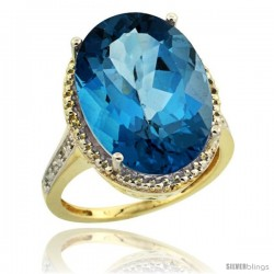 14k Yellow Gold Diamond London Blue Topaz Ring 13.56 Carat Oval Shape 18x13 mm, 3/4 in (20mm) wide
