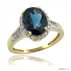 14k Yellow Gold Diamond London Blue Topaz Ring 2.4 ct Oval Stone 10x8 mm, 1/2 in wide