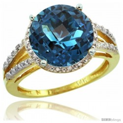 14k Yellow Gold Diamond London Blue Topaz Ring 5.25 ct Round Shape 11 mm, 1/2 in wide