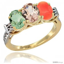 10K Yellow Gold Natural Green Amethyst, Morganite & Coral Ring 3-Stone Oval 7x5 mm Diamond Accent