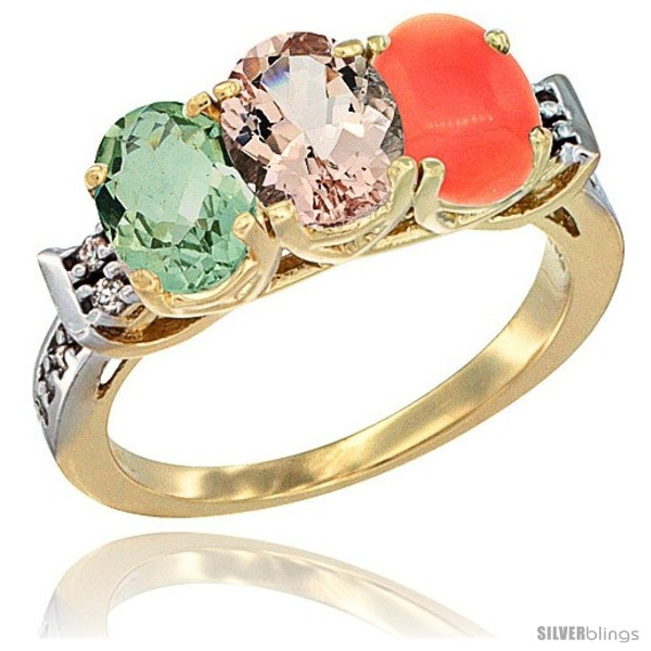 https://www.silverblings.com/2942-thickbox_default/10k-yellow-gold-natural-green-amethyst-morganite-coral-ring-3-stone-oval-7x5-mm-diamond-accent.jpg