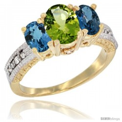 14k Yellow Gold Ladies Oval Natural Peridot 3-Stone Ring with London Blue Topaz Sides Diamond Accent