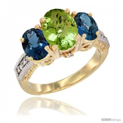 14K Yellow Gold Ladies 3-Stone Oval Natural Peridot Ring with London Blue Topaz Sides Diamond Accent
