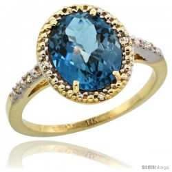 14k Yellow Gold Diamond London Blue Topaz Ring 2.4 ct Oval Stone 10x8 mm, 1/2 in wide -Style Cy405111