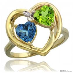 14k Yellow Gold 2-Stone Heart Ring 6mm Natural London Blue Topaz & Peridot Diamond Accent