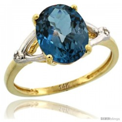 14k Yellow Gold Diamond London Blue Topaz Ring 2.4 ct Oval Stone 10x8 mm, 3/8 in wide