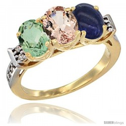 10K Yellow Gold Natural Green Amethyst, Morganite & Lapis Ring 3-Stone Oval 7x5 mm Diamond Accent