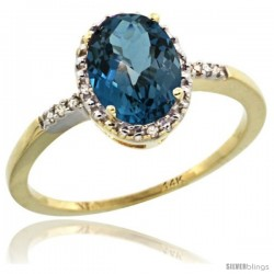 14k Yellow Gold Diamond London Blue Topaz Ring 1.17 ct Oval Stone 8x6 mm, 3/8 in wide