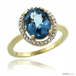 14k Yellow Gold Diamond London Blue Topaz Ring 2.4 ct Oval Stone 10x8 mm, 1/2 in wide -Style Cy405114