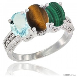 14K White Gold Natural Aquamarine, Tiger Eye & Malachite Ring 3-Stone Oval 7x5 mm Diamond Accent