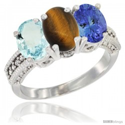 14K White Gold Natural Aquamarine, Tiger Eye & Tanzanite Ring 3-Stone Oval 7x5 mm Diamond Accent