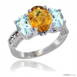 14K White Gold Ladies 3-Stone Oval Natural Whisky Quartz Ring with Aquamarine Sides Diamond Accent