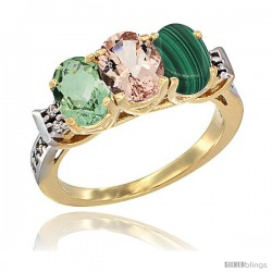 10K Yellow Gold Natural Green Amethyst, Morganite & Malachite Ring 3-Stone Oval 7x5 mm Diamond Accent