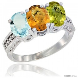 14K White Gold Natural Aquamarine, Whisky Quartz & Lemon Quartz Ring 3-Stone Oval 7x5 mm Diamond Accent