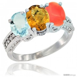 14K White Gold Natural Aquamarine, Whisky Quartz & Coral Ring 3-Stone Oval 7x5 mm Diamond Accent