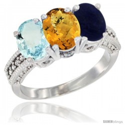 14K White Gold Natural Aquamarine, Whisky Quartz & Lapis Ring 3-Stone Oval 7x5 mm Diamond Accent