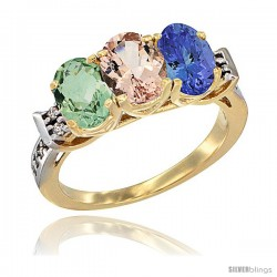 10K Yellow Gold Natural Green Amethyst, Morganite & Tanzanite Ring 3-Stone Oval 7x5 mm Diamond Accent