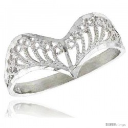 Sterling Silver Crown Type Filigree Ring, 3/8 in -Style Fr432