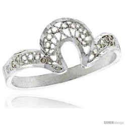 Sterling Silver U shaped Filigree Ring, 5/16 in