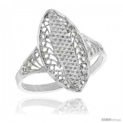Sterling Silver Oval-shaped Filigree Ring, 3/4 in