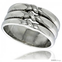 Sterling Silver Scalloped Dome Ring 3/8 wide