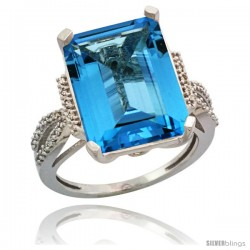 14k White Gold Diamond Swiss Blue Topaz Ring 12 ct Emerald Shape 16x12 Stone 3/4 in wide