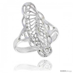 Sterling Silver Navette-shaped Filigree Ring, 7/8 in