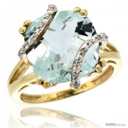 10k Yellow Gold Diamond Green Amethyst Ring 7.5 ct Cushion Cut 12 mm Stone, 1/2 in wide