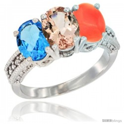 14K White Gold Natural Swiss Blue Topaz, Morganite & Coral Ring 3-Stone 7x5 mm Oval Diamond Accent