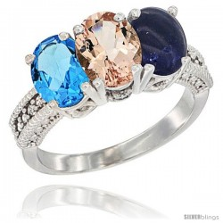 14K White Gold Natural Swiss Blue Topaz, Morganite & Lapis Ring 3-Stone 7x5 mm Oval Diamond Accent