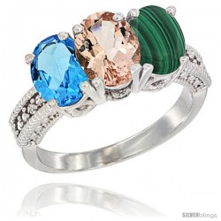 14K White Gold Natural Swiss Blue Topaz, Morganite & Malachite Ring 3-Stone 7x5 mm Oval Diamond Accent