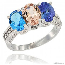 14K White Gold Natural Swiss Blue Topaz, Morganite & Tanzanite Ring 3-Stone 7x5 mm Oval Diamond Accent