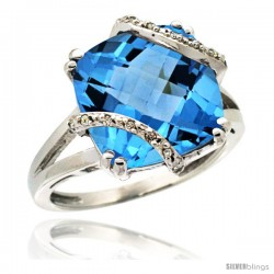 14k White Gold Diamond Swiss Blue Topaz Ring 7.5 ct Cushion Cut 12 mm Stone, 1/2 in wide