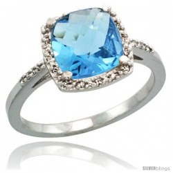 14k White Gold Diamond Swiss Blue Topaz Ring 2.08 ct Cushion cut 8 mm Stone 1/2 in wide